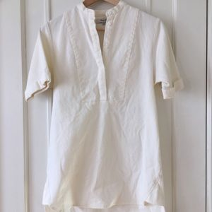 Madewell Collarless Tunic in Pure White